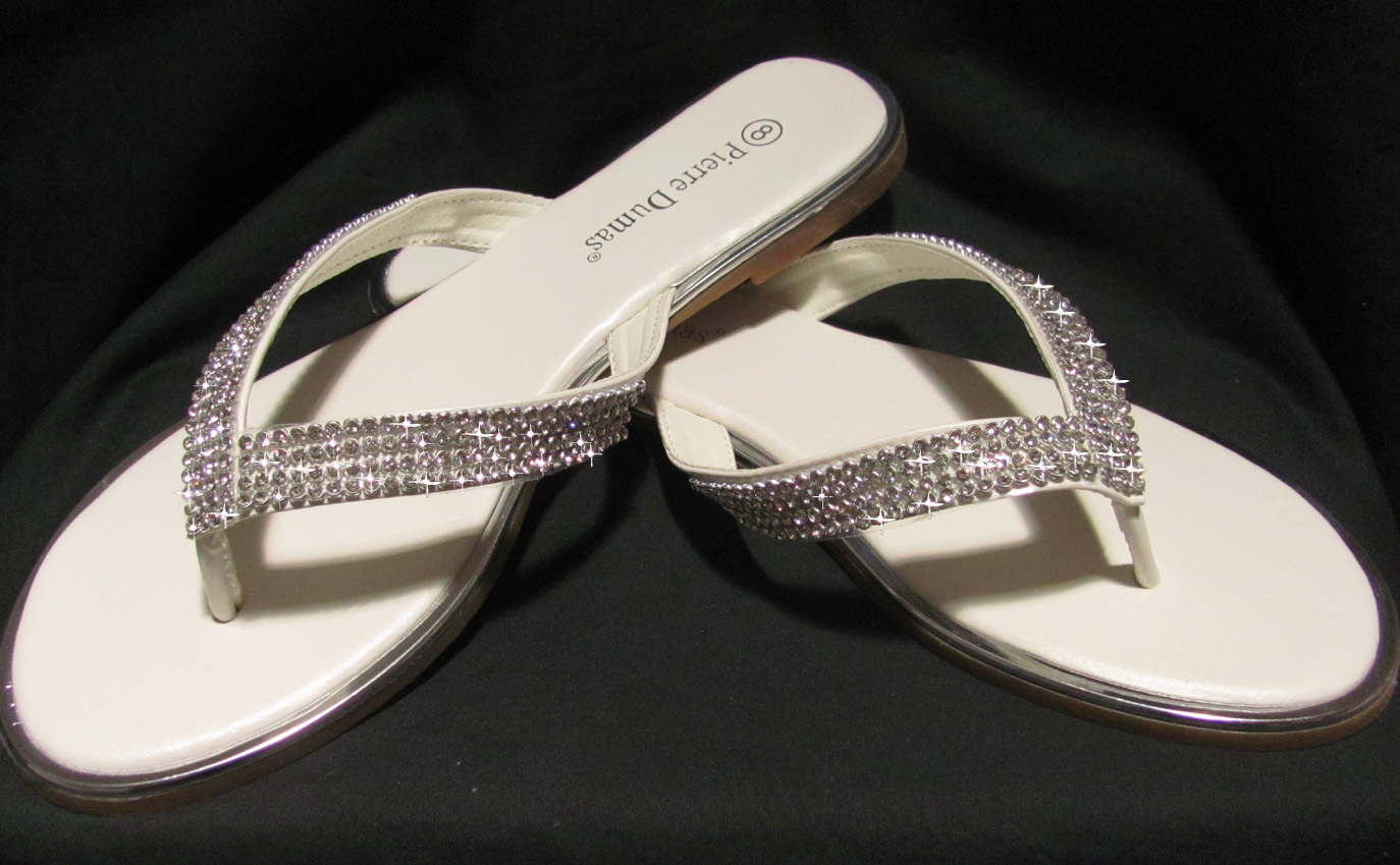 152a8131e9c6 Brides off white flip flops with rhinestones for weddings