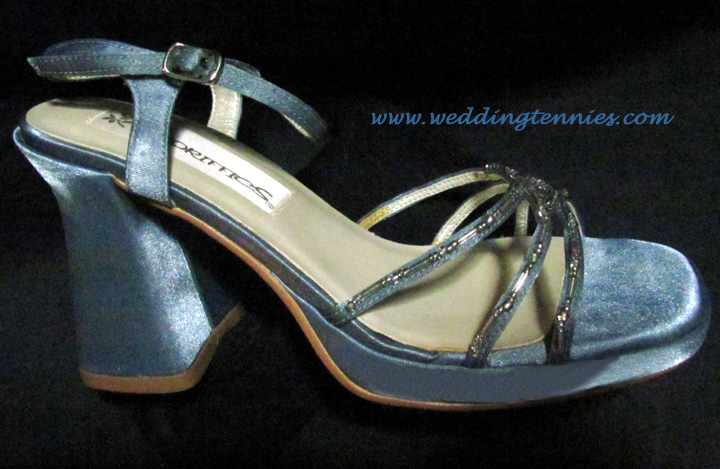 Shimmer blue fabric Comfortable Retro heel