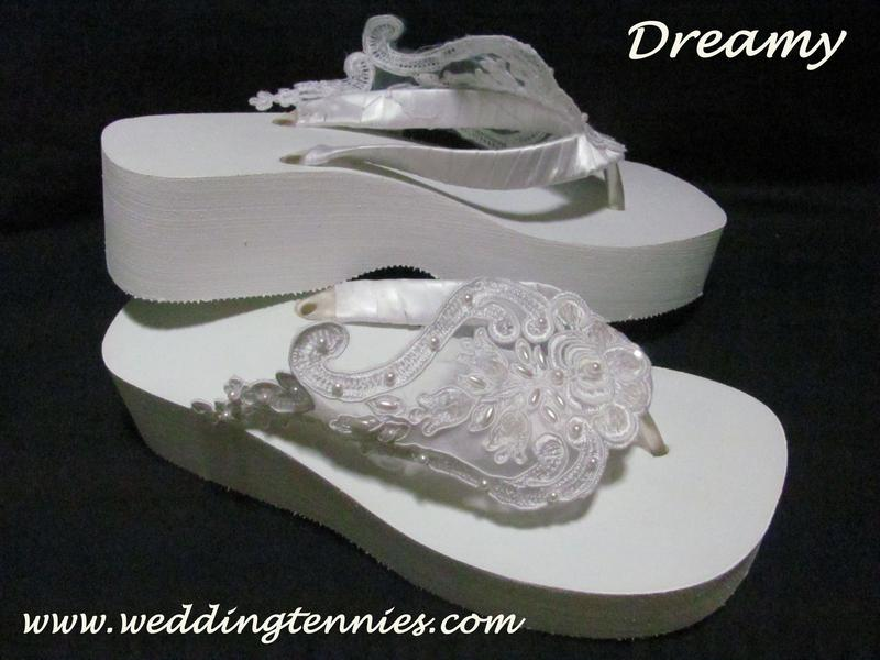 Mid high flip flops with lace, satin, and pearls