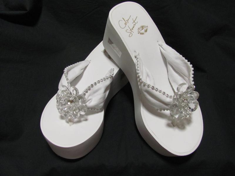 High Flip Flops with Rhienstones and Crystal Flower Center