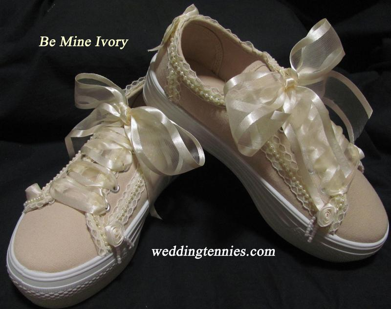 Dark Ivory Lace and Pearls Sneakers for your Wedding