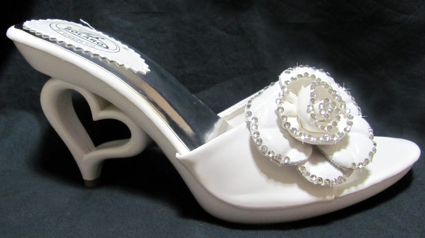 Heart Heel Rhinestone Flower Slide for Brides Wedding