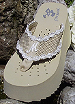 Platform Initial Bridal Flip Flops for weddings in white and light ivory