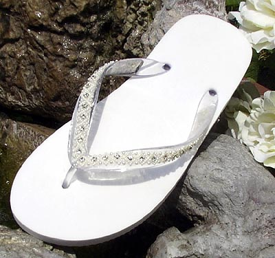 8c42a04a399ed Ivory Bridal Flip Flops with ivory pearls and rhinestone trim for Weddings