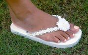 White Bridal Flip flops with luau flowers