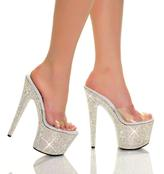 "7"" Diamond Covered Mule With Clear Vinyl Uppe 7 inch heel."