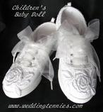 Children's bridal wedding tennies with lace and ribbon