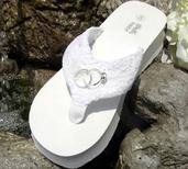 Bridal Flip Flops with wedding rings for weddings and receptions