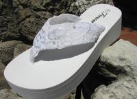 Platform Lacey Bridal Flip Flops for weddings and receptions
