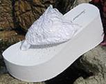Platform white lace and sequin and pearl flip flops for brides