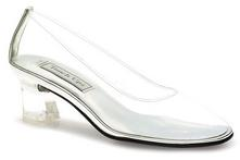 Clear Vinyl Cinderella low heel pump for weddings and quincenearas