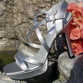 Dyeable White Satin Platform Bridal Sandals for weddings