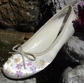 Ivory Satin Ballet Flats with Irridescent Sequins  for weddings