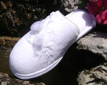 White Slippers with Chiffon Flower Trim brides and bridesmaids