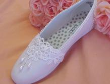 White Cotton Slippers with pearls and lace for brides