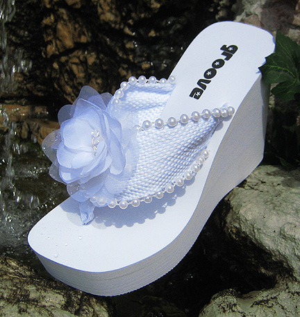 Elevated Platform Bridal Flip Flops with Chiffon Flower for weddings