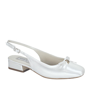 Children's white satin dyeable sling back low heel pump