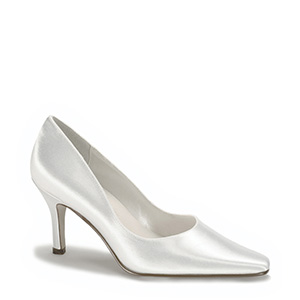 Bridal White Satin Dyeable pumps for weddings