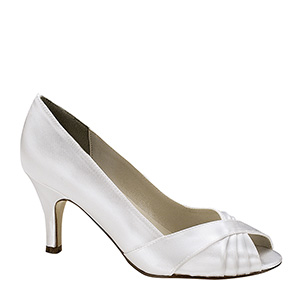 Bridal White dyeable low heel peep toe pump for weddings